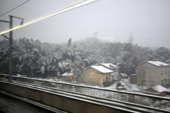 離開長沙,窗外已經出現雪景
