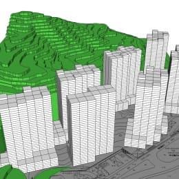 按政府批准的樓宇限高推算高樓建成後面貌模擬圖