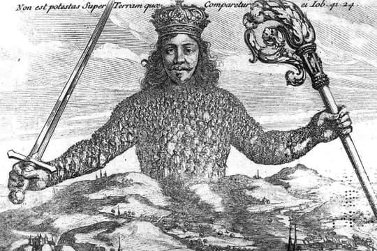 霍布斯的《利維坦》封面,象徵國家和國王的巨人由無數平民所組成,表達了以人為中心的世界觀。