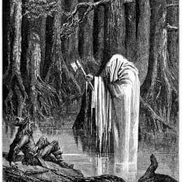 19世紀的《誠實的伐木人和金斧頭》插畫。 (網絡圖片)