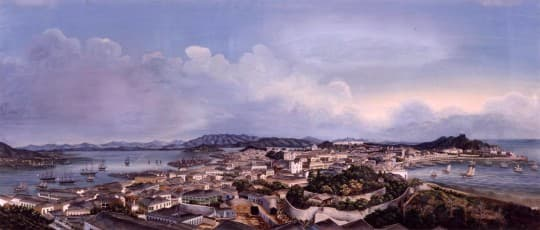 Panorramic View of Macau from Penha Hill, 1870, Artist unknown, from MIT Visualizing Cultures.