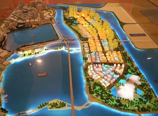 圖為原新城規劃草案中A區的模型