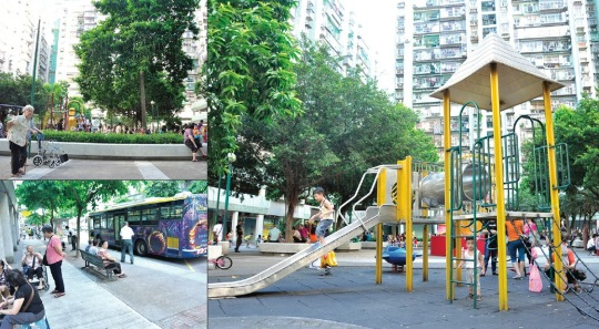 筷子基宏建休憩區/筷子基宏建休憩區就在巴士總站旁邊,就如休憩區與巴士廢氣同在,屋邨內的小公園,座椅本來不多,不少老人家每天都坐在馬路旁的閒聊,同時吸入大量巴士廢氣。
