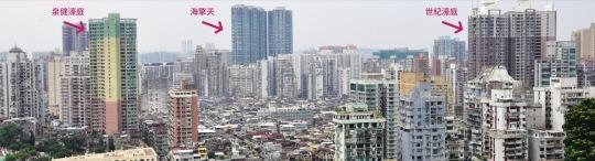 泉健濠庭(左),海擎天(中),世紀濠庭(右)