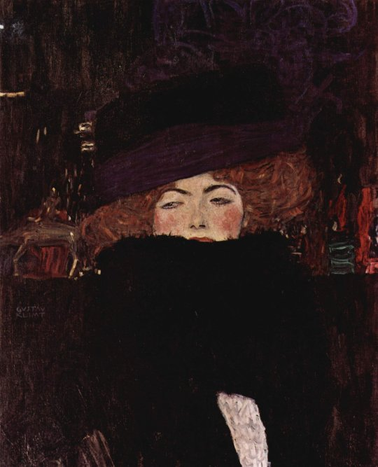 02 Lady with Hat and Feather Boa (1909) by Gustav Klimt