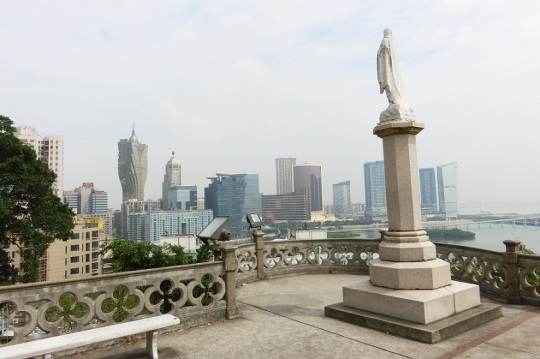 今天西望洋山上的聖母,看不到海岸與商船,只見高樓和大廈。