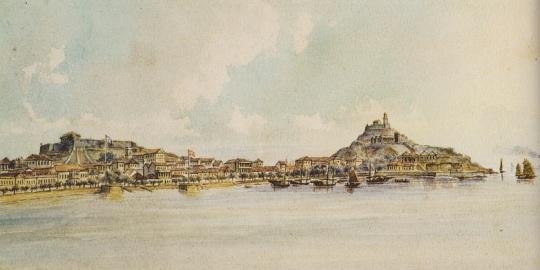 畢士達所繪的十九世紀澳門南灣風光(圖片來源:《十九世紀澳門歷史繪畫》)