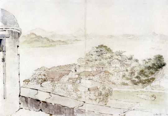 托馬斯.屈臣所繪的從大炮台俯視澳門景色(圖片來源:《十九世紀澳門歷史繪畫》)