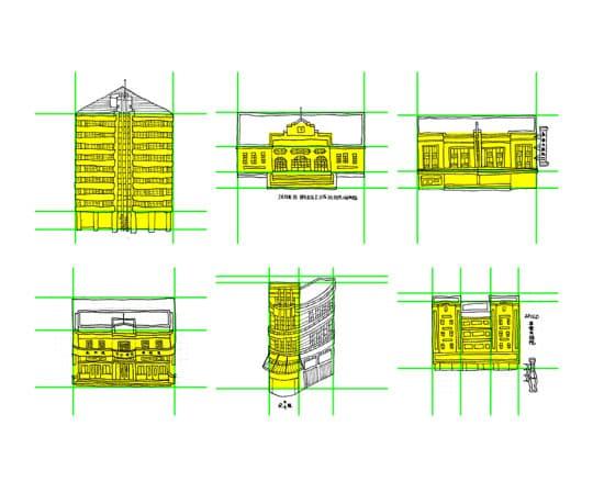 建築物的線稿,畫面按照著既定格線佈局,用方塊形式呈現立面