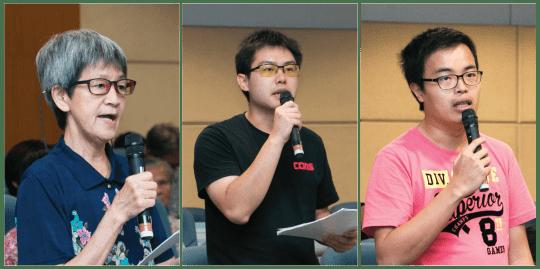 左:青洲坊會副理事長陳鳳;中:市民甄先生;右:新澳門學社副理事長鄭明軒