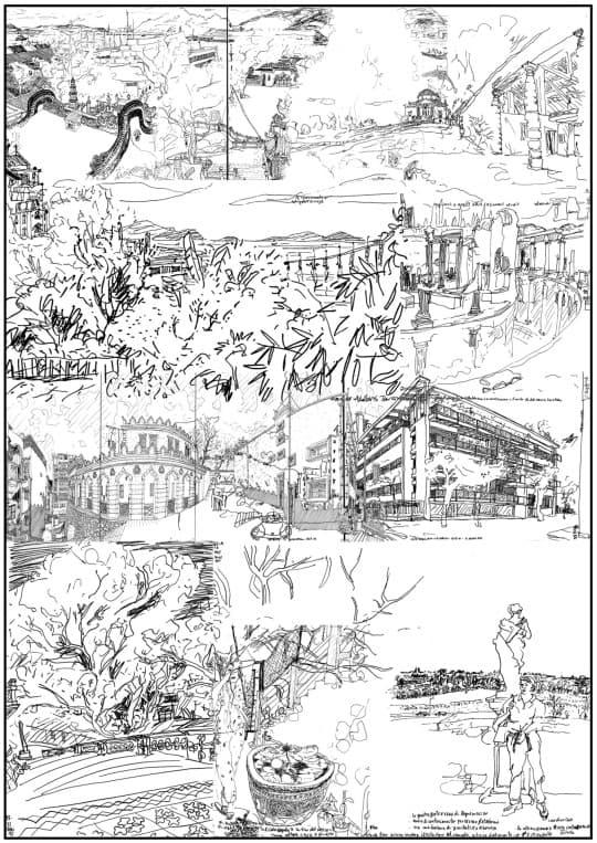 1/2 素描的地點(由上而下) 媽閣廟(十五世紀)、碼頭(1950年代);  Rocca Pisana別墅(威尼托區,十六世紀,建築師:Scamozzi). 西望洋山聖堂(1835年)、澳氹大橋(1974年); Adriana別墅(羅馬,二世紀) .  港務局大樓(1874年);  Giuliani Frigerio住宅樓(科莫,1939-41年,建築師:Terragni) . 西望洋公園和私人園林(1950年代); Almerico Capra別墅(維琴察,十六世紀,建築師:帕拉第奧) .