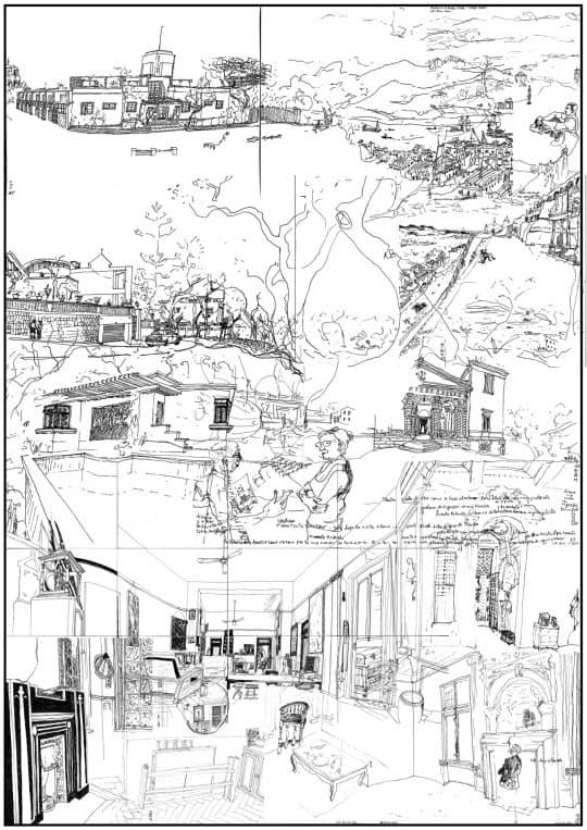 2/2 素描的地點 Skyline私人住宅(1934年)及內港; 勝利者海克力斯神廟(一世紀,羅馬) .  西坑街朝東下坡的路及樹; 蒂沃利(一世紀,羅馬) .  屬於政府所有的房屋(1950年代); Pisani別墅 (威尼托區,十六世紀,建築師:帕拉第奧) 位於西望洋山伴的私宅和前主教府的室內裝修及傢具(1950年代) ; Emo、Barbaro及Poiana別墅(威尼托區,十六世紀,建築師:帕拉第奧).
