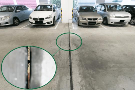 停車場裂縫可直接望到下層燈光