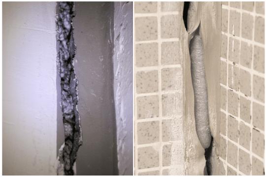 裂縫內有發泡膠(圖左)及泡棉(圖右)等物料