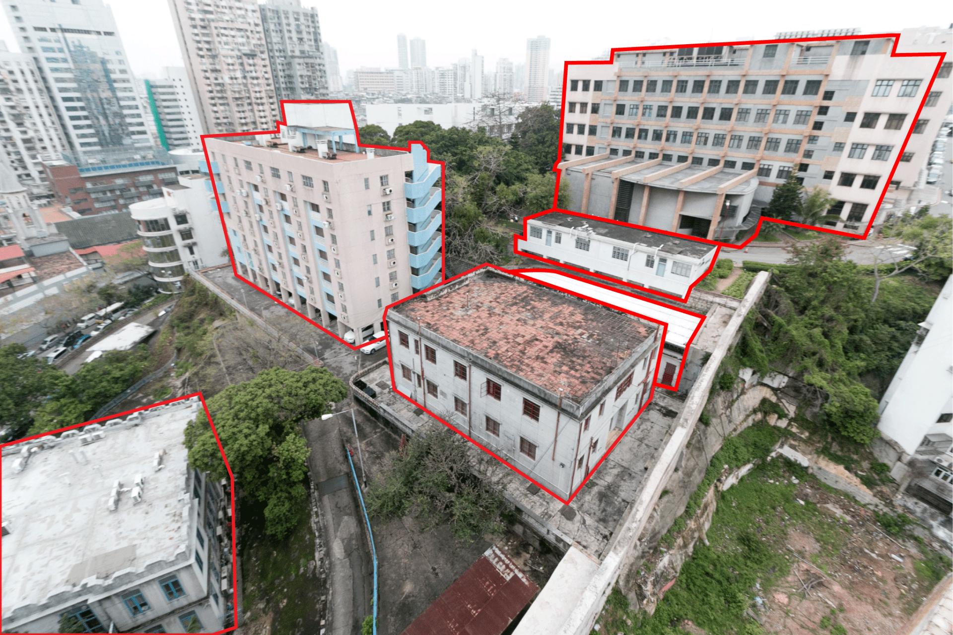 傳染病大樓選址內6棟建築物將被拆除(如圖紅框所示)