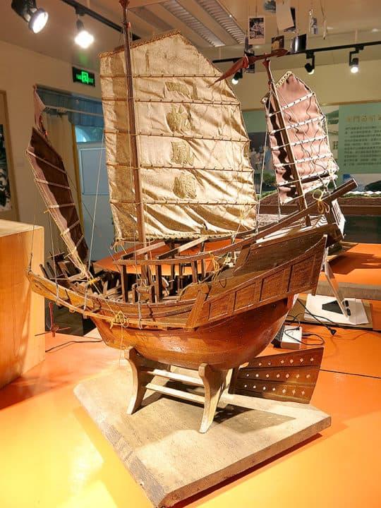 花費大量心機造出來的風帆漁船模型