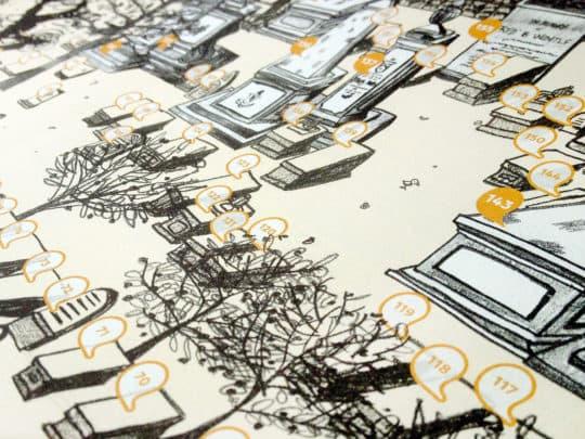 《天國之園──馬禮遜墓園文化地圖》,我城社區規劃合作社2017年4月出版,SomethingMoon 設計及插畫。地圖正面為墓園全圖,背面重點介紹。©SomethingMoon