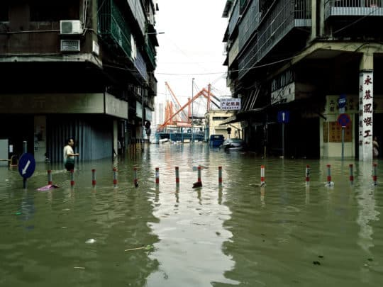 超強颱風「天鴿」襲澳,造成市區大面積淹水,至今10人死亡、逾200人受傷、市民財產巨大損失的災害。