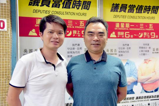 民主新動力第2候選人陳國成 (左) 第3候選人李漫洲 (右) 。