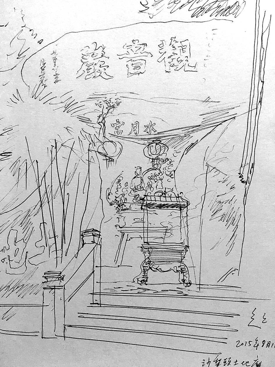 呂澤強速寫畫作。(由受訪者提供)