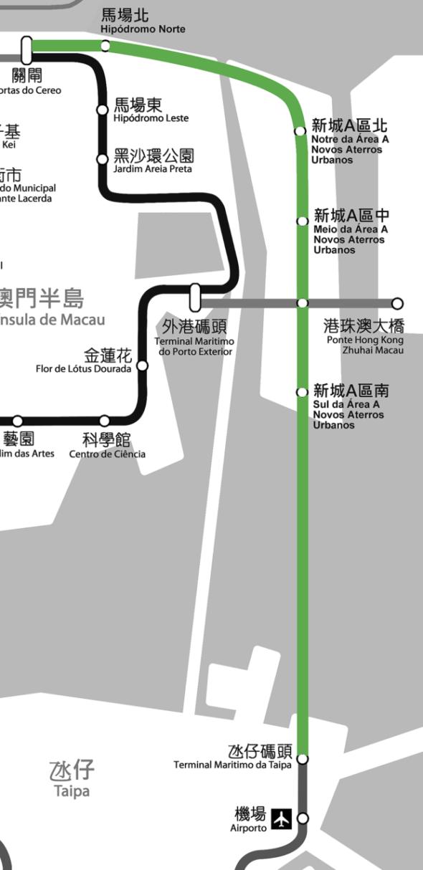 政府早前表示,短期內將研究輕軌東線,即連接關閘、新城A區及氹仔北安碼頭的走線。(模擬圖 / Original photo by Tinho C. via Wikimedia Commons, licensed by CC BY-SA 3.0)