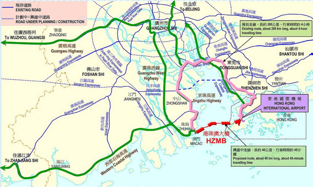 港珠澳大橋落成後,珠江三角洲西岸地區將納入香港方圓三小時車程內可達的範圍。
