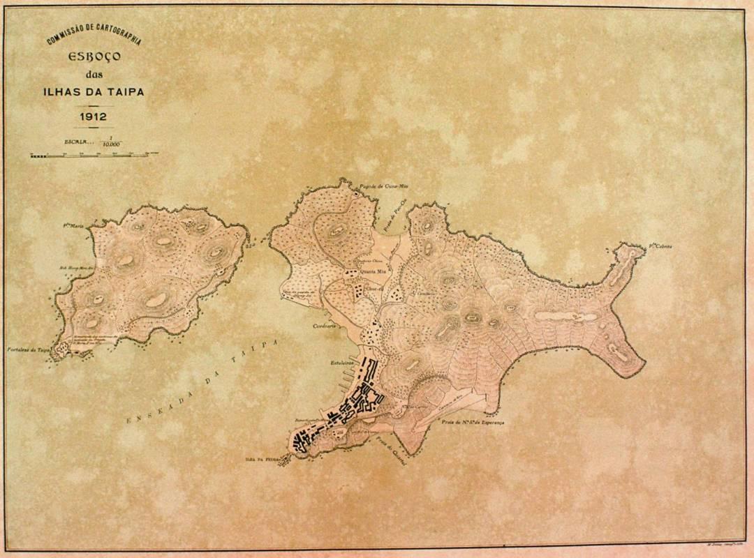 1912年氹仔地圖。在氹仔島標示為造船廠(Estaleiros)的地方位於現益隆炮竹廠至地堡街對開一帶,證明益隆昔日位於岸邊。