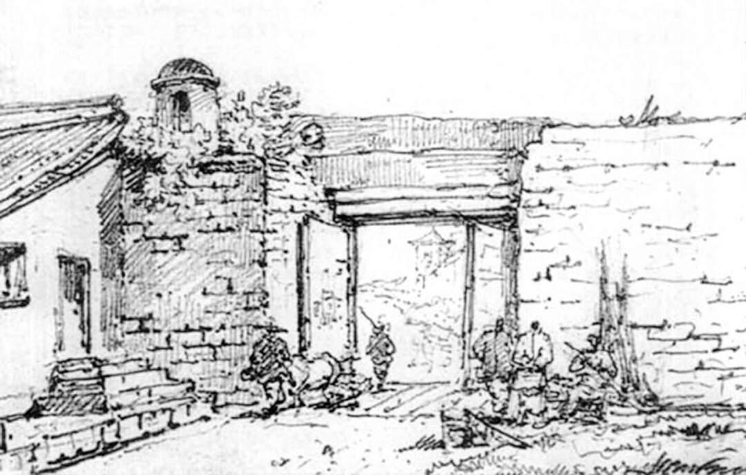 澳門北城門,鉛筆畫,錢納利繪於1830-1833年,Toyo Bunko收藏。