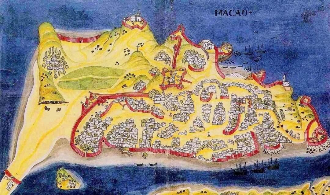 1634年《澳門要塞圖》,大英博物館收藏,原載《東印度城鎮防禦工事圖冊/A. Bocarro, 1634)。