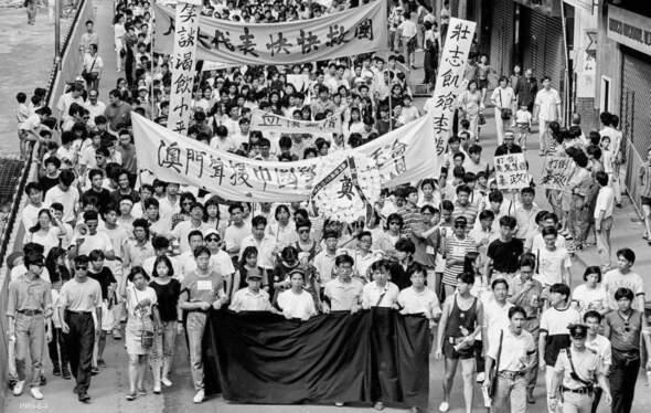 1989年,澳門一連串的遊行示威活動,參加人數愈來愈多。