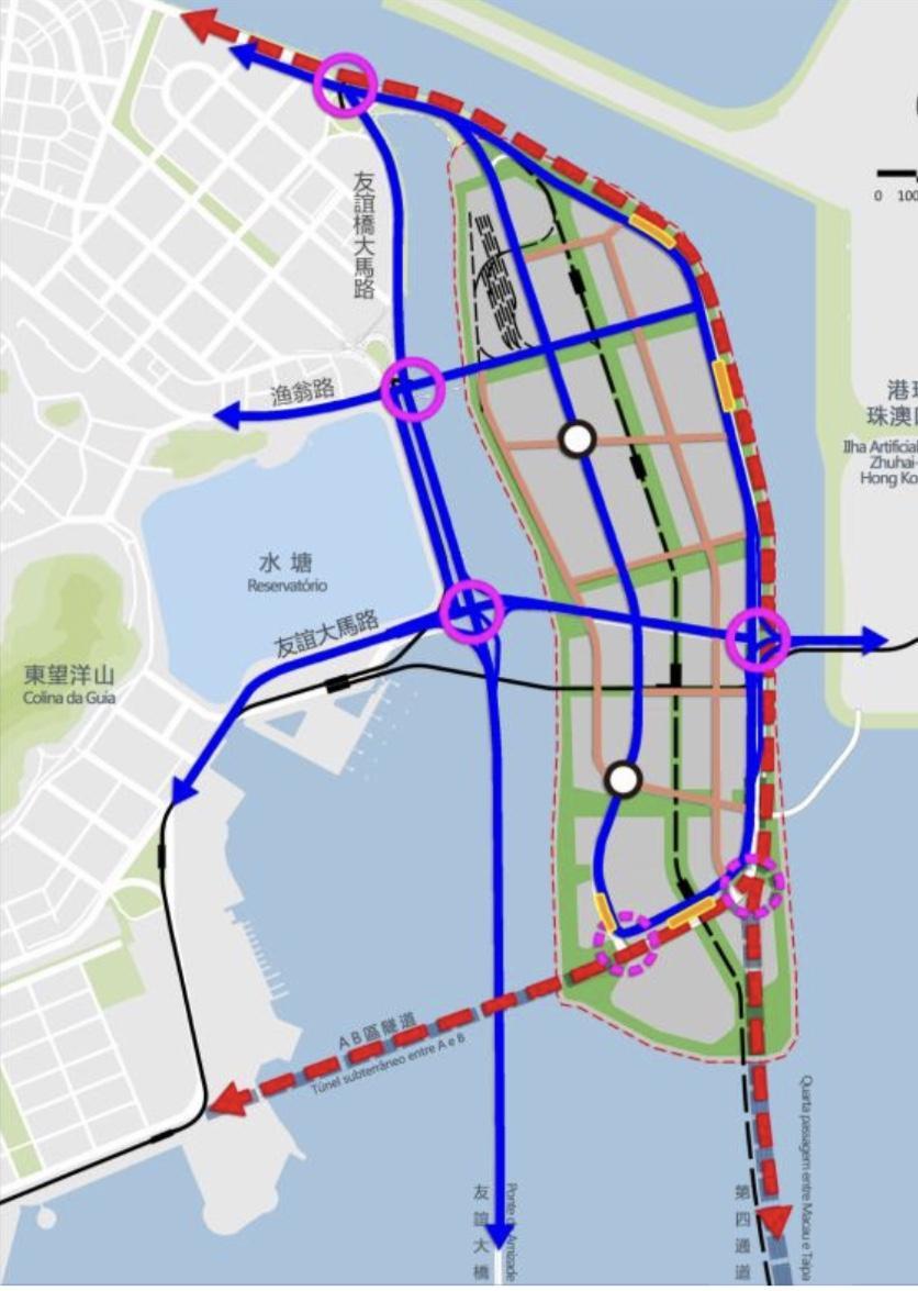 圖片說明:新城A區原交通路網圖(上)及《總規》草案圖示對比(下),紅色虛線為地下外環道。