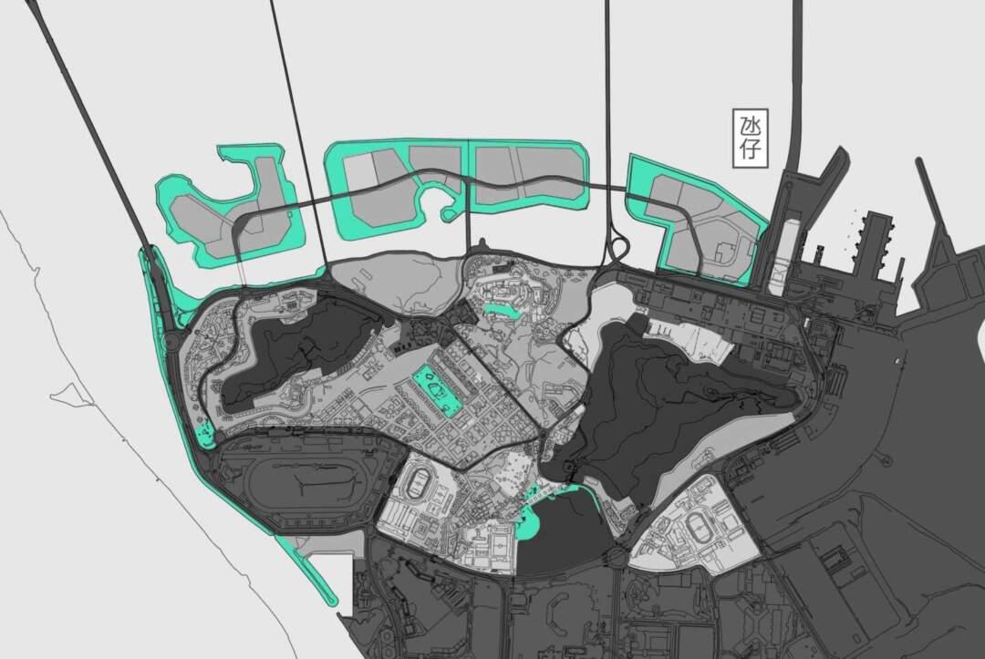 氹仔中央公園及現時的海濱單車徑有被標示為綠地(青色),但已開展工程的的單車徑延長部分則未有。