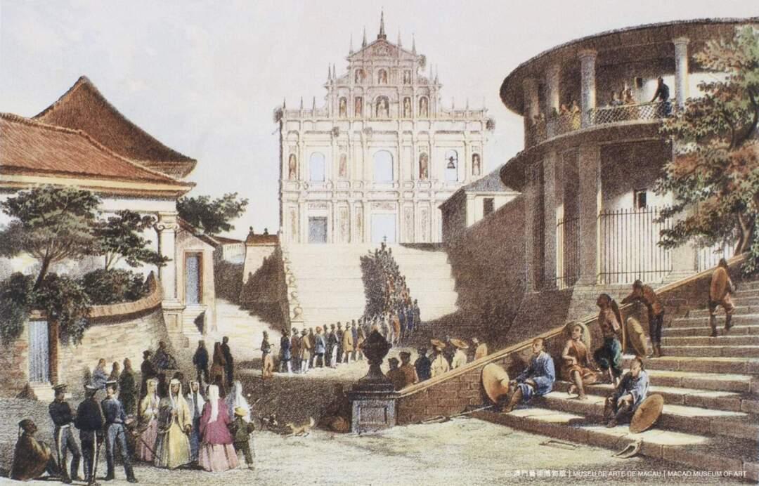 版畫中的大三巴和現實的大三巴並不相同。圖片來源:澳門藝博館