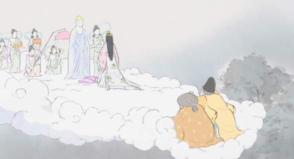 最後使者引魂至天界,父母與女兒告別的畫面。身邊的小觀眾們紛紛反應:「我不喜歡佛祖,神明面無表情,就帶走她。」唉,如果父母沒見到佛祖和仙女,就更難告別、更不放心公主的「離世」了。《輝耀姬物語》(高畑勳導演。 2014年,吉卜力公司)
